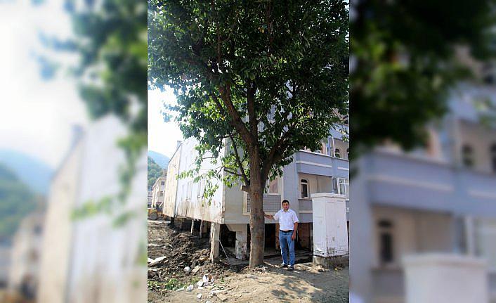 Selde 6 saat ağaçta mahsur kaldı, yan binadan uzatılan merdivenle kurtuldu