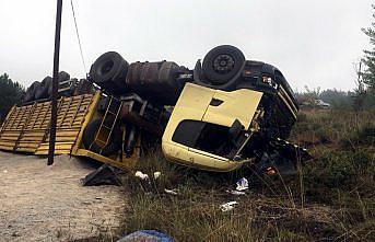 Karabük'te devrilen tırın sürücüsü yaralandı