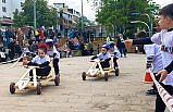 Giresun'da çocuklar tahta arabalarla yarıştı