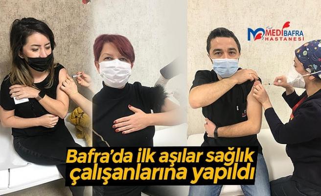 Bafra'da ilk aşılar sağlık çalışanlarına yapıldı