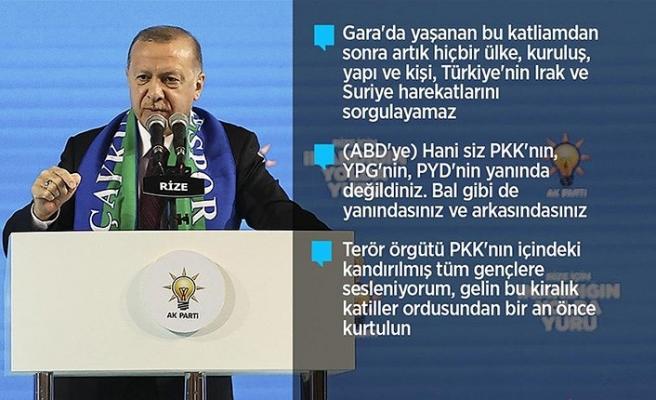 Erdoğan: Askerimizin karşısında duramayan terör örgütü alçaklıkta sınır tanımıyor