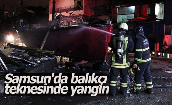 Samsun'da balıkçı teknesinde yangın