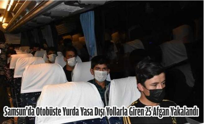 Samsun'da otobüste yurda yasa dışı yollarla giren 25 Afgan yakalandı