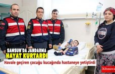 Jandarma personeli havale geçiren çocuğu kucağında hastaneye yetiştirdi