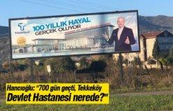 """Hancıoğlu: """"700 gün geçti, Tekkeköy Devlet Hastanesi nerede?"""" diyerek bu videoyu basın ile paylaştı."""
