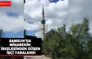Samsun'da minarenin iskelesinden düşen işçi...