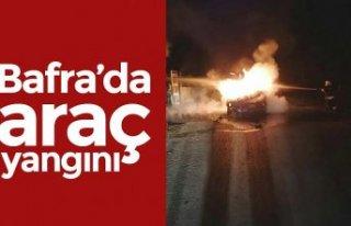 Bafra'da araç yangını