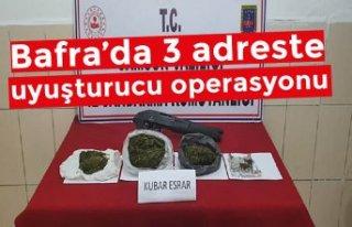 Bafra'da 3 adreste uyuşturucu operasyonu