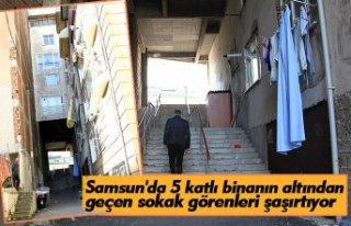 Samsun'da 5 katlı binanın altından geçen...
