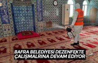 BAFRA BELEDİYESİ DEZENFEKTE ÇALIŞMALARINA DEVAM...