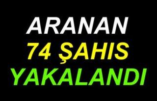 """Samsun'da düzenlenen """"şok uygulamada"""" 74..."""