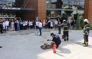 Karabük'te hastanede yangın tatbikatı yapıldı