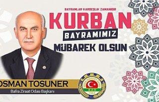 Başkan Tosuner'den Kurban Bayramı Mesajı