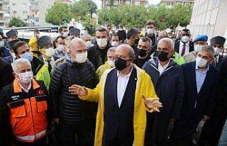 KKTC Cumhurbaşkanı Tatar, sel felaketinin yaşandığı...