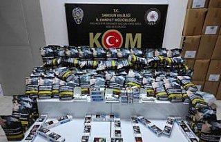 Samsun'da 7 bin 600 bandrolsüz makaron ele geçirildi