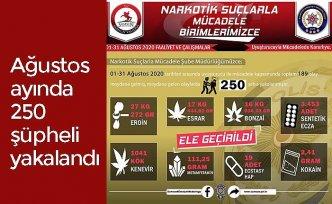 Ağustos ayında 250 şüpheli yakalandı