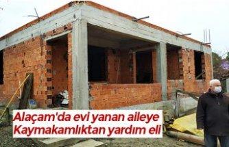 Alaçam'da evi yanan aileye Kaymakamlıktan yardım eli