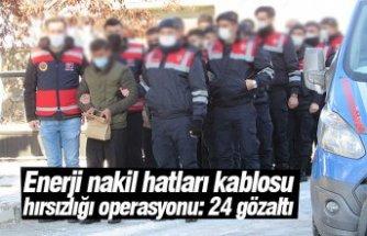 Enerji nakil hatları kablosu hırsızlığı operasyonu: 24 gözaltı