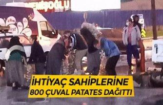 İHTİYAÇ SAHİPLERİNE 800 ÇUVAL PATATES DAĞITTI