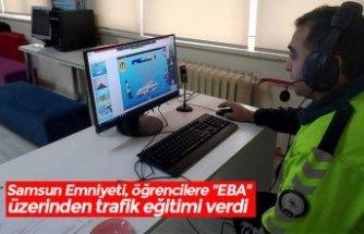 """Samsun Emniyeti, öğrencilere """"EBA"""" üzerinden trafik eğitimi verdi"""