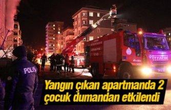 Yangın çıkan apartmanda 2 çocuk dumandan etkilendi