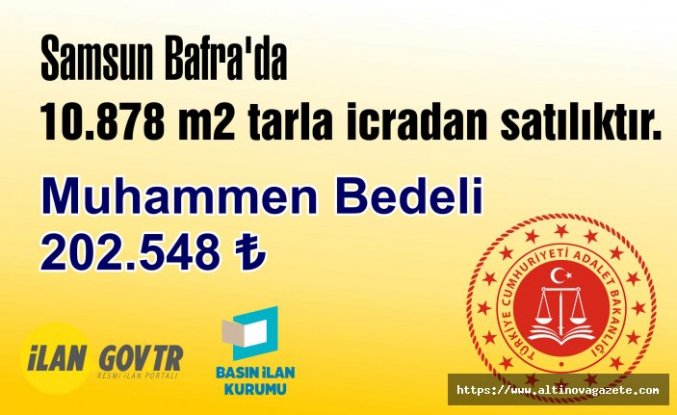 Bafra'da 10.878 m2 tarla icradan satılıktır