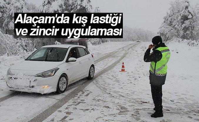 Alaçam'da kış lastiği ve zincir uygulaması