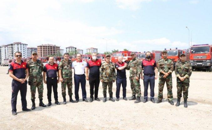 Azerbaycan'dan yangınlara destek amacıyla gelen 53 araçlık konvoy Ordu'ya ulaştı