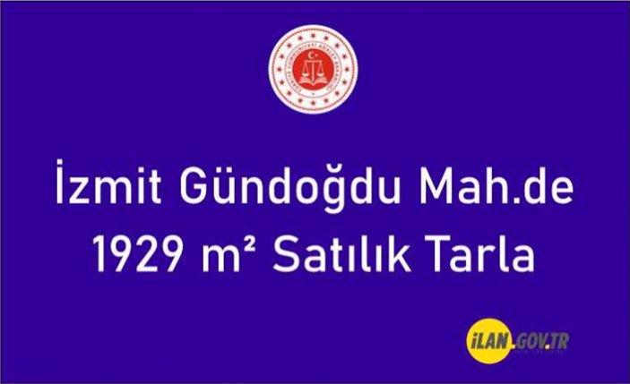İzmit Gündoğdu Mah.de 1929 m² tarla satılıktır
