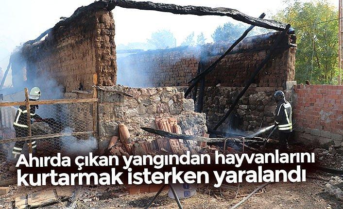 Ahırda çıkan yangından hayvanlarını kurtarmak isterken yaralandı