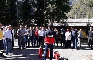 Doğankent'te deprem ve yangın eğitimi