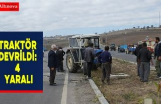 Traktör devrildi: 4 yaralı