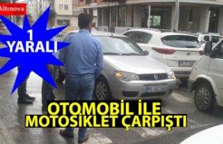 OTOMOBİL İLE MOTOSİKLET ÇARPIŞTI