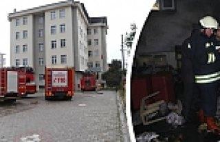 Tekkeköy'de Özel Öğrenci Yurdunda Yangın