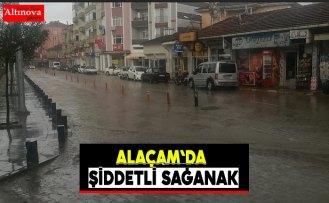 Alaçam`da sağanak yağış etkili oldu