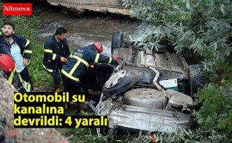 Otomobil su kanalına devrildi: 4 yaralı