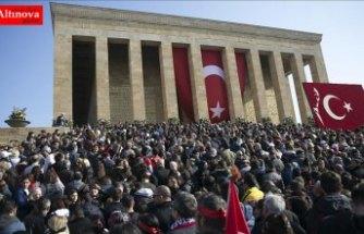 Anıtkabir'e gelen ziyaretçiler yoğunluk oluşturdu