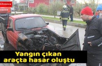 Yangın çıkan araçta hasar oluştu