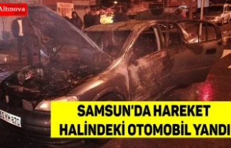 Samsun'da hareket halindeki otomobil yandı