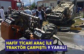 Hafif ticari araç ile traktör çarpıştı: 9 yaralı