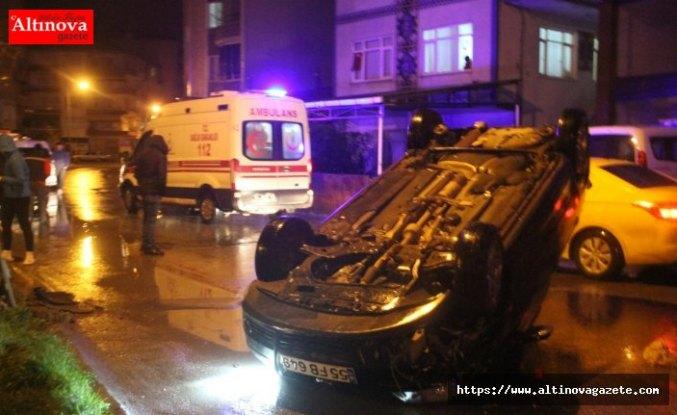 Bafra'da otomobil takla attı