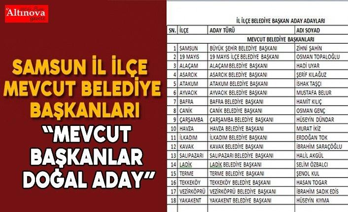 Samsun il, ilçe mevcut belediye başkanları