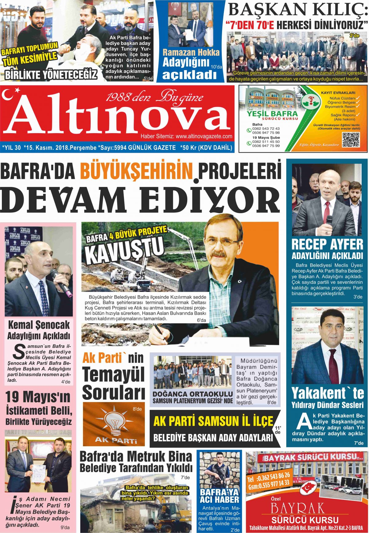 Bafra Haberleri   Bafra Haber – Bafra Son Dakika Haber - 15.11.2018 Manşeti