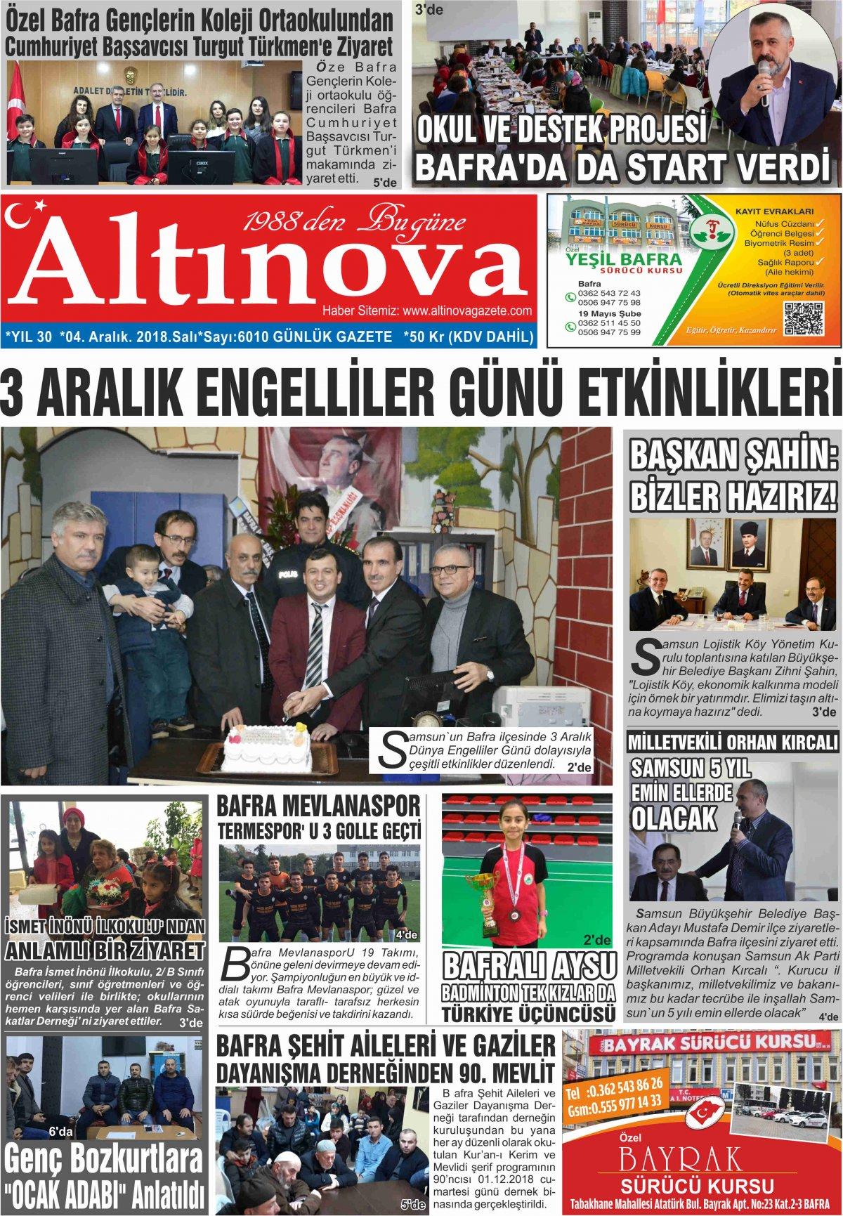 Bafra Haberleri | Bafra Haber – Bafra Son Dakika Haber - 04.12.2018 Manşeti