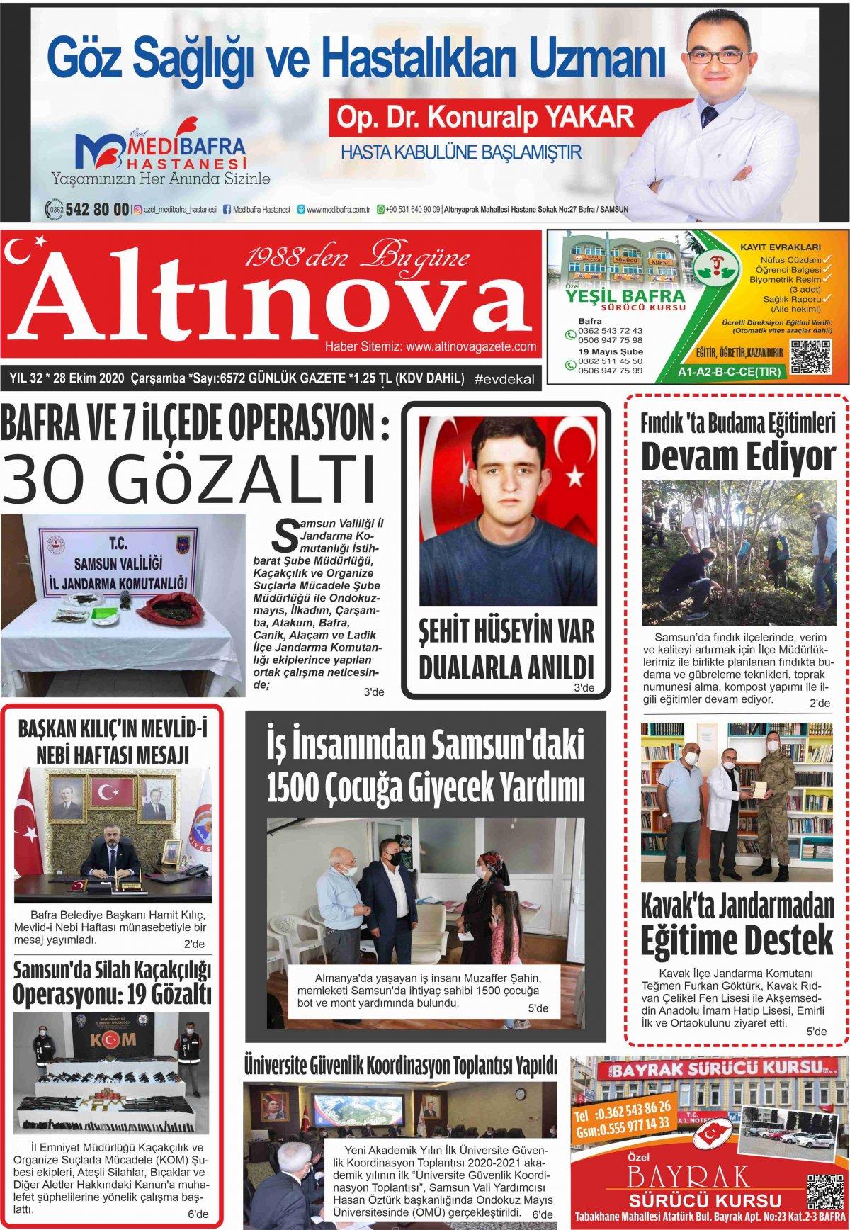 Bafra Haber, Bafrahaber, Bafra Haberleri, altinovagazete.com - 28.10.2020 Manşeti