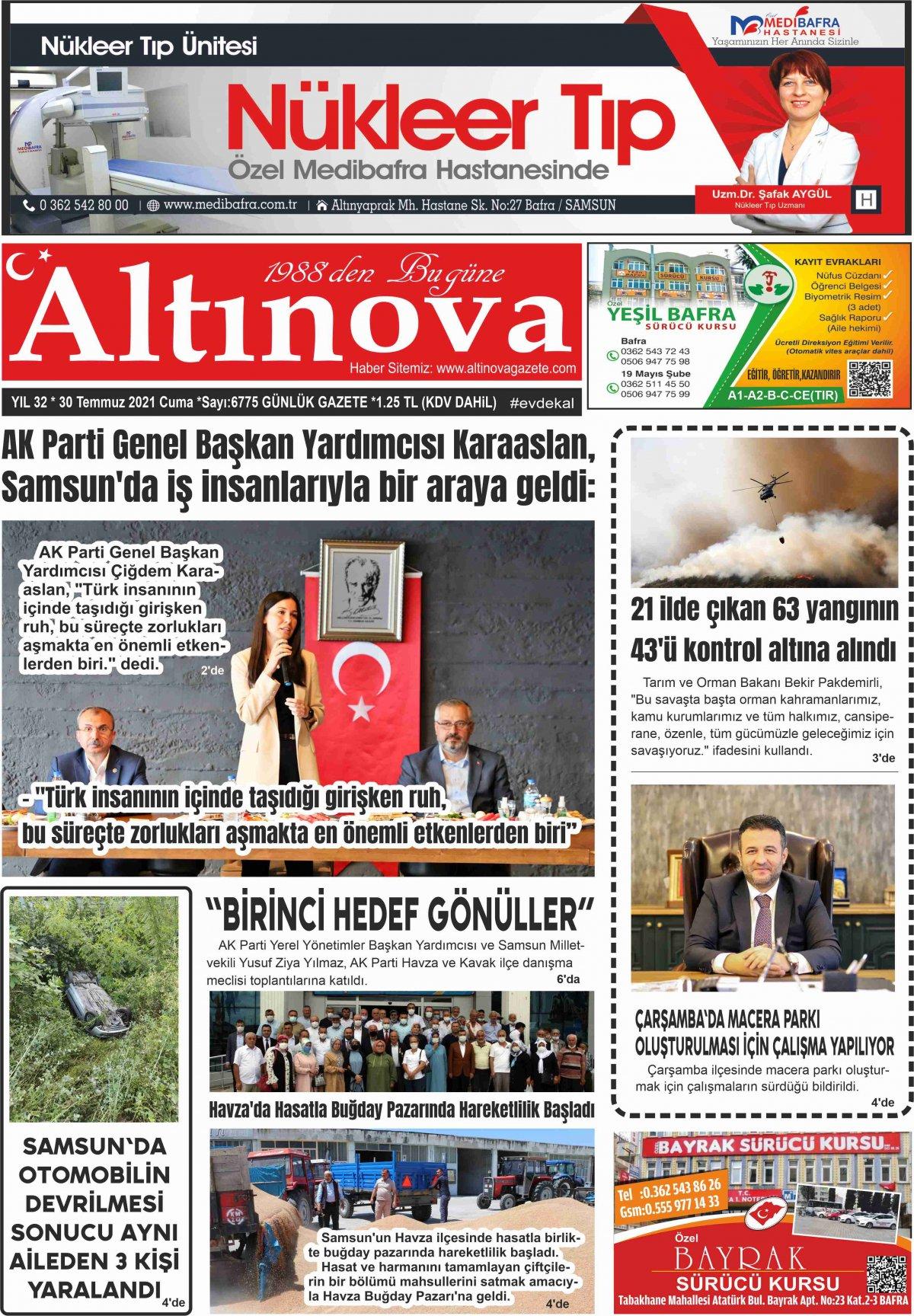 Bafra Haber, Bafrahaber, Bafra Haberleri, altinovagazete.com - 30.07.2021 Manşeti