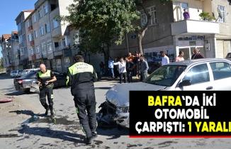 Bafra`da iki otomobil çarpıştı: 1 yaralı