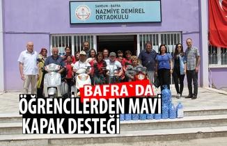 Bafra`da öğrencilerden mavi kapak desteği